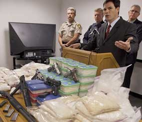 Drug Enforcement Agency assistant special agent Paul Rozario speaks during a news conference announcing Nevada's largest methamphetamine bust in history. Law enforcement agencies from around Las Vegas seized 200 pounds of the drug (AP Photo).