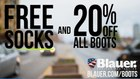 20% Off Boots + FREE Socks – Code <b>BLAUERBOOT</b>