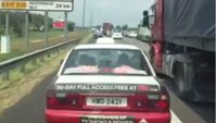 Taxis block ambulance in emergency lane