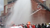 NY Jets use fire truck to complete ice bucket challenge