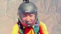 Firefighter pranks girlfriend during parachute proposal
