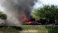 Military jet crashes in Calif. neighborhood, sets homes ablaze