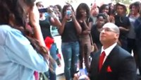 Firefighter proposes to girlfriend with flash mob
