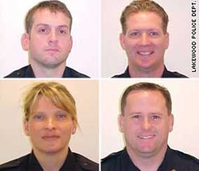 Clockwise, from top left: Sgt. Mark Renninger, Officer Ronald Owens, Officer Tina Griswold and Officer Gregory Richards