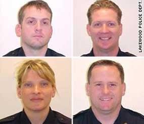 Clockwise, from top left: Sgt. Mark Renninger, Officer Ronald Owens, Officer Tina Griswold, and Officer Gregory Richards.