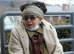 Wadiya Jamal, wife of Mumia Abu-Jamal, sits outside Schuylkill Medical Center East Norwegian Street, Pottsville, Pa., and speaks about visiting her husband on Tuesday, March 31, 2015. (AP Photo/The Republican-Herald, David McKeown)