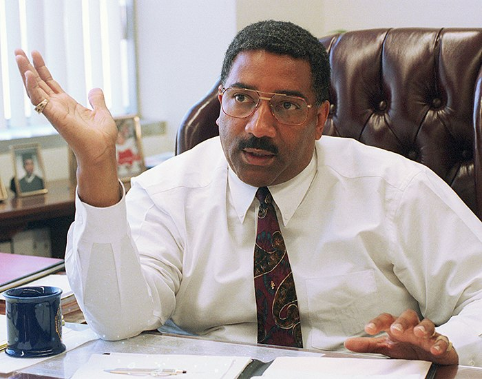This March 30, 1995 photo shows then-Los Angeles Police Chief Willie L. Williams in his office at police headquarters in Los Angeles.